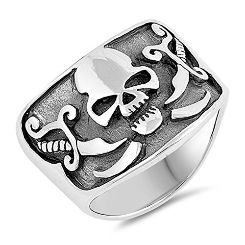 Biker Skull Oxidized Swords Cross Ring Sterling Silver Pirate Band Size 8 - Cross Sterling Silver Biker Ring