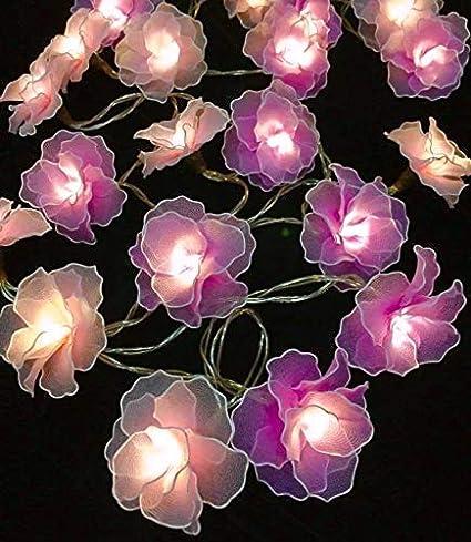 Amazon Com Thai Vintage Handmade Flowers String Lights 20 Led Fairy Lights For Home Decor Party Bedroom Purple Home Improvement