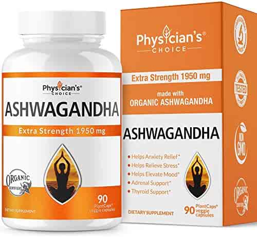 Ashwagandha 1950mg Organic Ashwagandha Root Powder Extract of Black Pepper Anxiety Relief, Thyroid Support, Cortisol & Adrenal Support, Anti Anxiety & Adrenal Fatigue Supplements 90 Veggie Capsules
