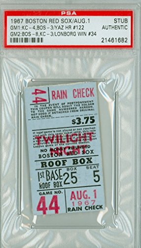 1967 Boston Red Sox Impossible Dream AL Champs Ticket Stub vs Kansas City Athletics Carl Yastrzemski HR #122 Jim Lonborg Win #34 August 1, 1967 [Grades Good, pin holes, ow ex] by Mickeys Cards