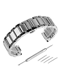 Beauty7 Brushed & Polished Two Tone Finish 18-24mm Stainless Steel Link Wrist Watch Band Kit Bracelet Strap Replacement Butterfly Buckle Clasp