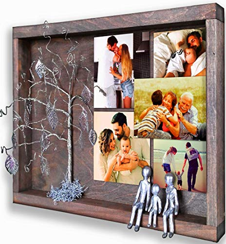 - 3-Figurines Handmade Personalized Family Picture Frame Collages for Wall Silver Steel Tin Aluminum Iron Anniversary Gifts Idea 10th 6th 11th 25th 40th 60th 80th for Women Men Wife Husband for Inlaws