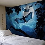 Alone 100% polyester Bat Ombre Tapestry by Labhanshi Ombre Bedding, Mandala Tapestry, Twin Full, Indian Mandala Wall Art Hippie Wall Hanging Animal Pattern Bedspread Blue (60 x 52'')
