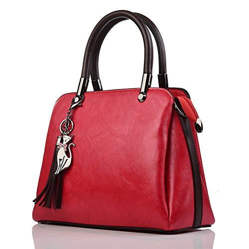 Caphill Handbags for Women Shoulder Bags PU Leather Fashion Clutches Bags Shopping Bag Tote Bag with Shoulder Strap for Ladies Girl Red