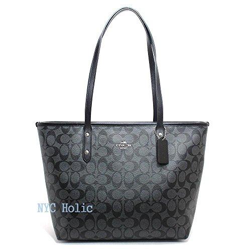 Coach Signature PVC City Zip Tote F58292 Black Smoke/Black (Tote Coach Handbags)