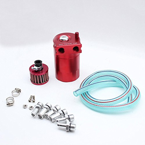 Oil Catch Can,Tdogs Aluminum Cylinder Red Breather Filter 3/8'' & 9/16'' Hose Adapters by Tdogs