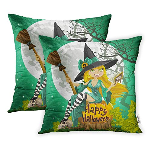 Emvency Set of 2 Throw Pillow Covers Cases Blue Wizard Beautiful Young Witch Book Broom Sitting on Halloween Sexy 18