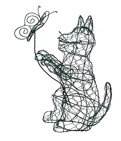 Amazon.com: Cat/Butterfly 12 inches high Topiary Frame, Handmade ...