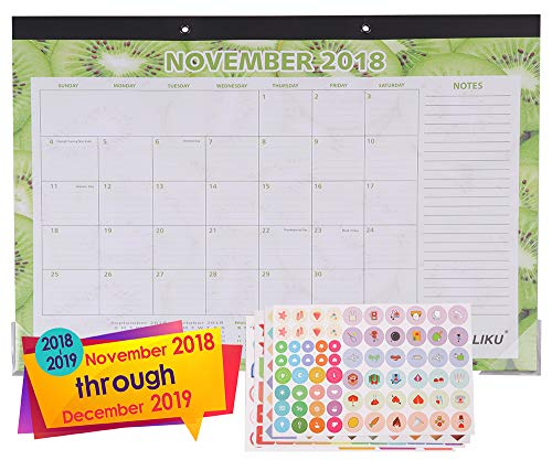 LIKU Large Desk Wall Calendar 2018 2019-17x12- Monthly from November 2018 to December 2019 - Big Table Office Family Calendar - Fruit Pattern Monthly Designs (Fruit Pattern, 17x12)
