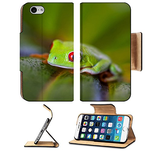 Natural Jungle Print (Luxlady Premium Apple iPhone 6 iPhone 6S Flip Pu Leather Wallet Case IMAGE ID: 24413624 Natural and fresh jungle theme with exotic frog)