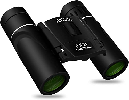 Aigoss Binoculars with Low Light Night Vision 8 x 21 Folding High Powered Waterproof HD Fully Coated Lens for Clear Bird Watching, Traveling, Hunting