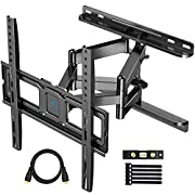 #LightningDeal PERLESMITH TV Wall Mount Full Motion for Most 32-55 Inch TVs with Swivel & Extends 16.53 Inch - Dual 6 Arms Wall Mount TV Bracket VESA 400x400 Fits LED, LCD, OLED Flat Screen TVs up to 99 lbs