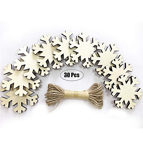Luling Arts Unfinished Natural Snowflake Wood Slices for Centerpieces - 30 Pcs 2