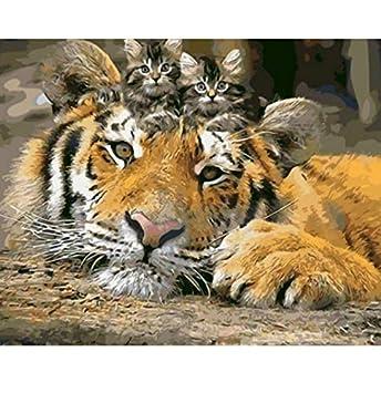 OKOUNOKO Puzzle De 1000 Piezas para Adultos 3D Imágenes De Gatos Y Tigres, Fotos,