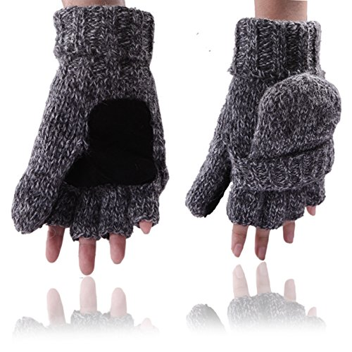 Convertible Flip Gloves Mittens (HDE Fingerless Winter Gloves Flipover Insulated Thermal Knit Texting Mittens)