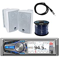 Dual Mechless AM/FM, MP3 Bluetooth Receiver iPod/iPhone Control with Dual 100W 3-way White In/Outdoor Box Speakers Pair, Enrock Audio Marine Grade Spool of 50 16G Speaker Wire & Enrock Marine Antenna
