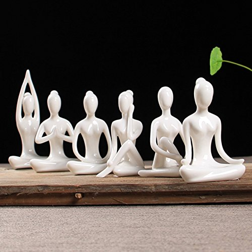 OwMell Lot of 6 Meditation Yoga Pose Statue Figurine Ceramic Yoga Figure Set Decor (White Set)]()