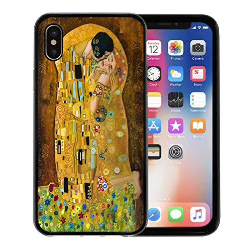 Semtomn Phone Case for Apple iPhone Xs case,Brown Kiss Klimt Inspired Abstract Batik Painting Grounds of Gustav Purple Modern for iPhone X Case,Rubber Border Protective Case,Black