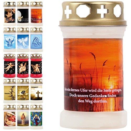 Grablichter Grabkerzen Öllicht 15 Motive Spruch Foto Tagebrenner Grab Ersatzkerze Auswahl: Natur - Sonnenuntergang