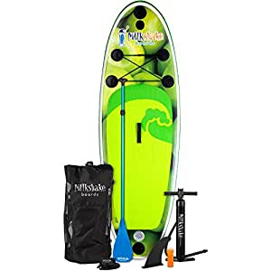 Milkshake Inflatable 8' Kids Stand Up Paddle Board and Complete SUP Bundle (Green Apple) | Includes Board, Pump, Adjustable Paddle, Easy Transport Back Pack, Ankle Leash and Repair Kit