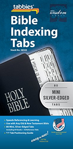 Tabbies Mini Silver-Edged Bible Indexing Tabs, Old & New Testament, 80 Tabs Including 64 Books & 16