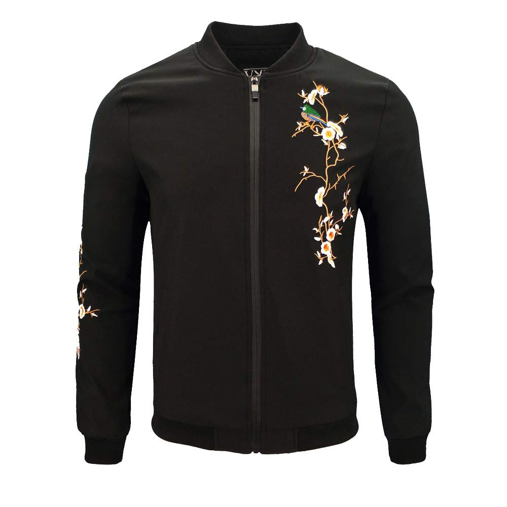 Dacawin Men's Winter Coat Sale Casual Printing Long Sleeve Zipper Jacket Baseball Uniform