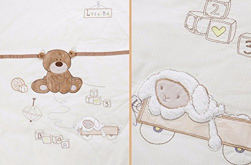 JACKBABYBABY Unisex Baby Bedding Set Cotton 3D Embroidery Bear Quilt Pillow Bumper Bed Sheet 5 Pieces Crib Bedding Set White Color by JACKBABYBABY (Image #7)