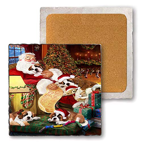 Set of 4 Natural Stone Marble Tile Coasters - Saint Bernards Dog and Puppies Sleeping with Santa MCST48116 -