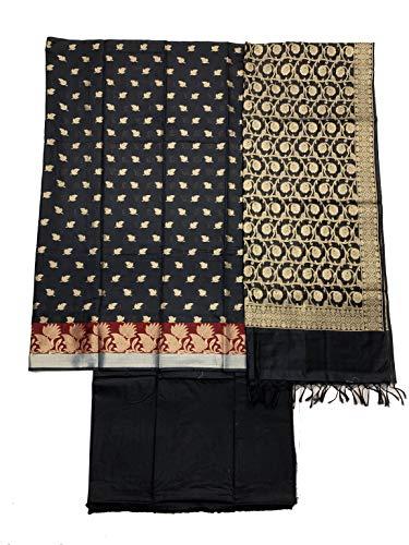 SHREEMAA CREATIONS Women's Ethnic Wear Unstitched Banarasi Cotton Zari Work Salwar Suit With Dupatta (BBBSM261,BLACK)