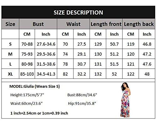 Fiesta y Playa Vestidos Pecho 10 Impresa Verano Envuelto de J Florales Color Mujeres carinacoco con Largo Coctel Vestido Noche Vacation SZB67Bq