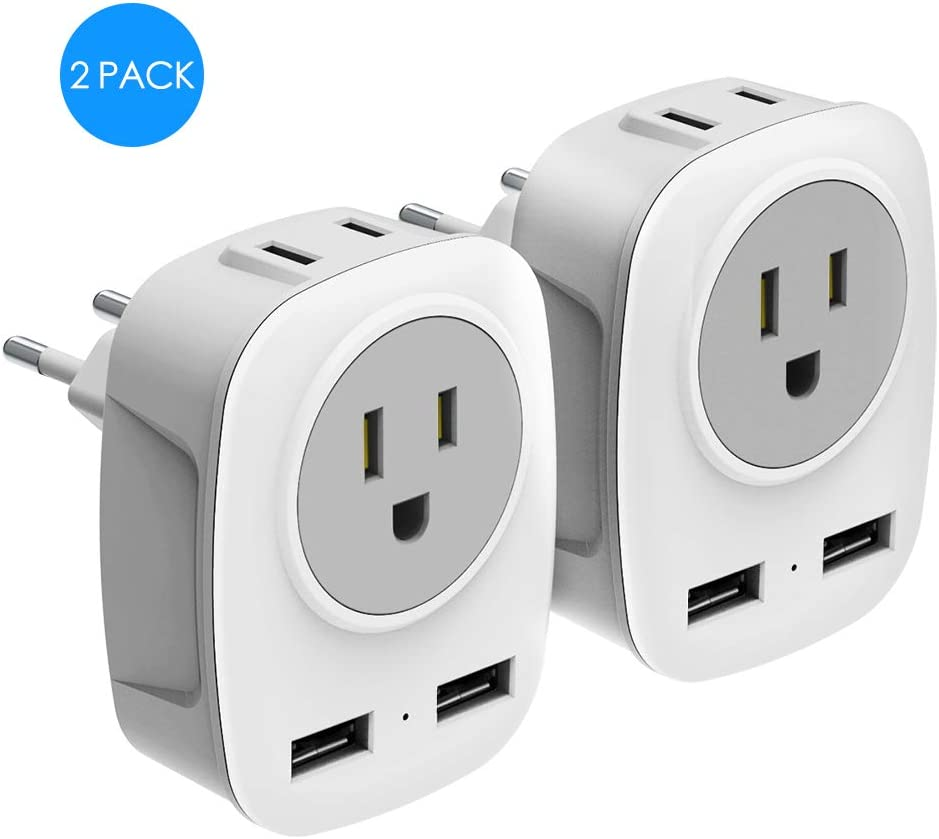 European Travel Plug Adapter with 2 USB Ports 2 Outlets International Travel Power Adapter 4 in 1 US to Europe for France Germany Spain Italy Greece (2Pack)