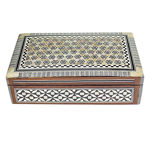 Arts of Egypt Elegant Handcrafted Egyptian Decorative Mosaic Jewelry Trinket Box Inlaid Mother of Pearl for Jewelry Collectibles Coins Gift -Size 8 1/4 x 5 1/8 x 2 1/4 H ()