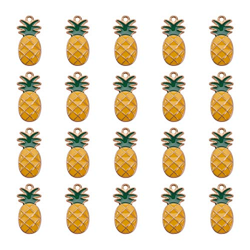 PH PandaHall 1 Box (About 20pcs) Gold Alloy Enamel Fruit Pineapple Pendants Charms Finding Pendants Beads Charms for Jewelry Making and - Polished Pineapple