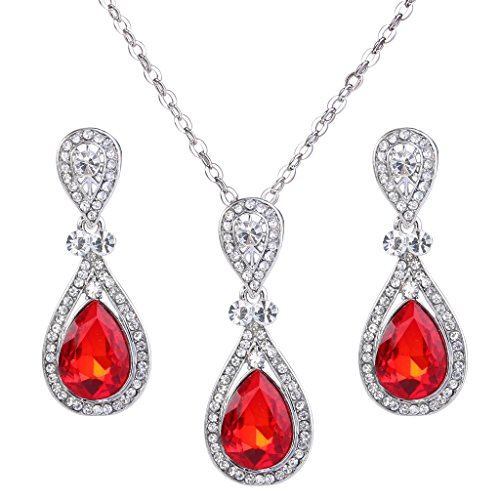 (BriLove Wedding Bridal Necklace Earrings Jewelry Set for Women Elegant Crystal Teardrop Pendant Necklace Dangle Earrings Set Ruby Color Silver-Tone)