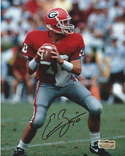 Autographed Eric Zeier Photo - Classic Georgia Bulldogs 8x10 NCAA Red Jersey - Autographed NFL Photos