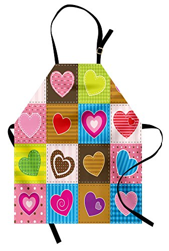 Ambesonne Country Apron, Patchwork Themed Cute Heart Shaped Figures with Varying Backgrounds Love Valentine, Unisex Kitchen Bib Apron with Adjustable Neck for Cooking Baking Gardening, Brown Pink
