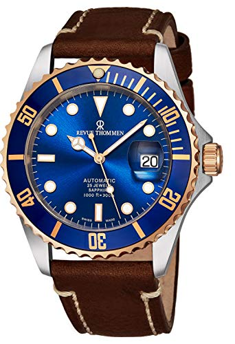 - Revue Thommen Diver Mens Automatic Dive Watch - 42mm Blue Face with Luminous Hands, Magnified Date, Sapphire Crystal - Rose Gold Bezel Brown Leather Band Swiss Made Waterproof Diving Watch 17571.2555