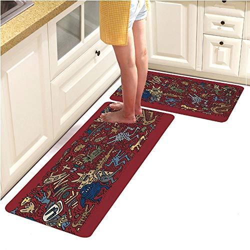 Kitchen Mat Rubber Backing Doormat Runner Rug Set,2 Piece Non-Slip,Doodle Halloween Holiday Background Design Concept (18