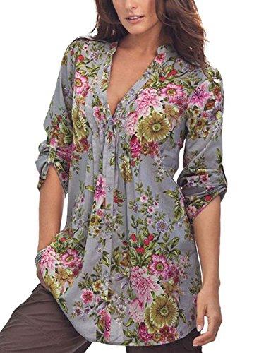 Flower Print Blouse (Dokotoo Womens Plus Size Split V Neck Floral Print Work Peasant High Low Cotton Floral Flower Print Blouses T Shirts Under 20 Grey XX-Large)