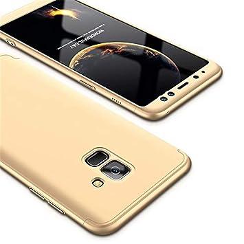 Funda Samsung Galaxy J6 (2018) MISSDU Thin Fit 360 Carcasa Exact Slim de protección Completa y Protector de Pantalla de Vidrio Templado, Gold