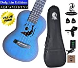 Kalena Factory Direct Mahogany Concert Ukulele with instruction book, strap, tuner, extra strings, felt picks, complete set for all ages (24'' Concert Traditional, Aquamarine)