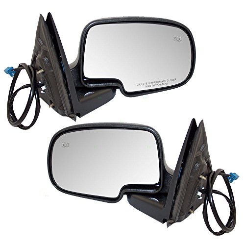 Driver and Passenger Power Side View Mirrors Heated Textured Covers Replacement for Chevrolet GMC Pickup Truck 15226944 15226945 ()