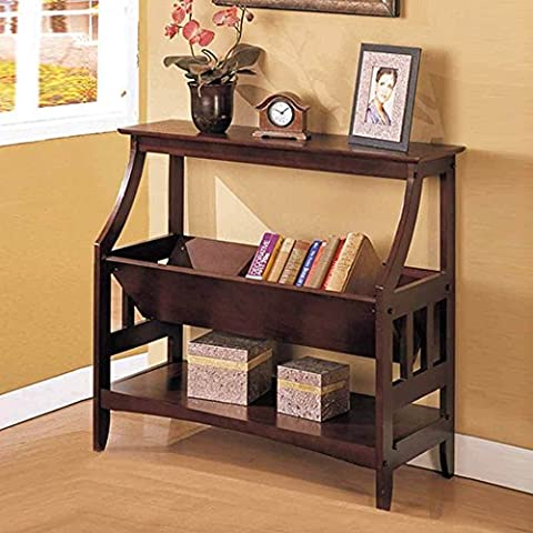 Contemporary Wood Magazine Table Book Storage Console Sofa Table Stand Rack in Walnut - Cappuccino Finish Birch Veneer