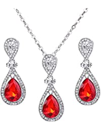 Women's Wedding Bridal Elegant Crystal Teardrop Pendant Necklace Dangle Earrings Set