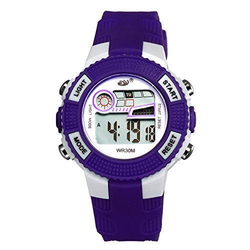 Kids 3 Atm Sports Digital Watch, Children's Day Gift Multi-Function Led Display, Sweat Wicking Band(Purple)