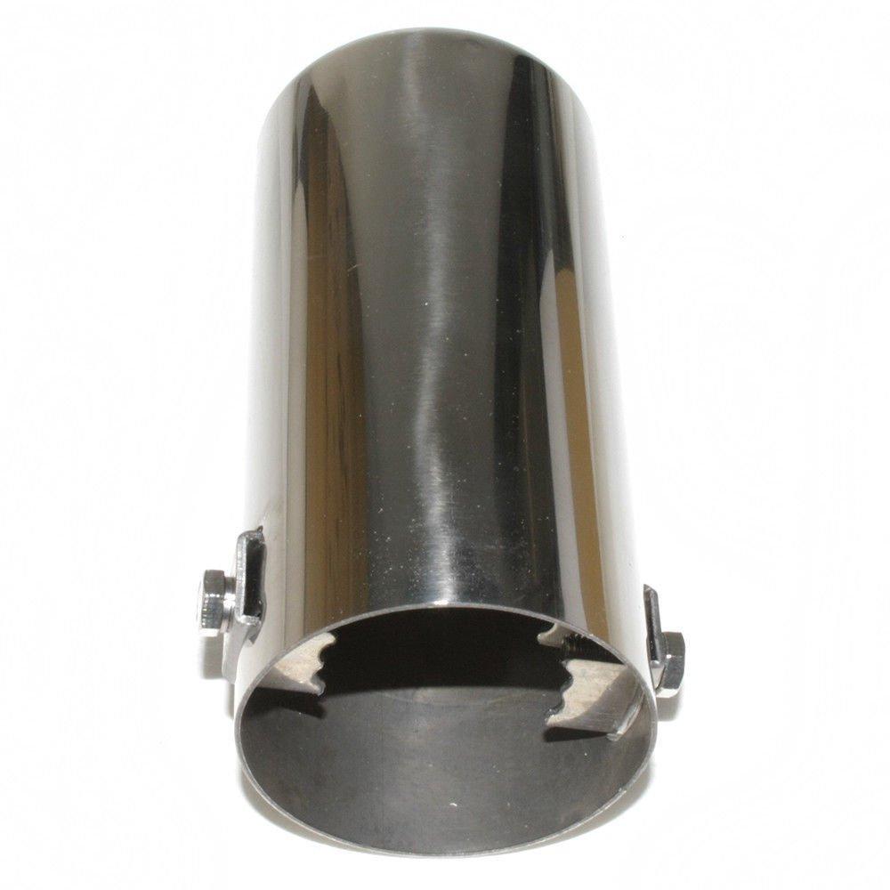 Boloromo YFX-0005 Single Exhaust Performance Sport Muffler Universal Trim Tail Tip End Pipe Stainless Steel Chrome