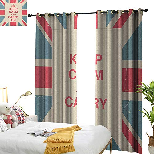 (longbuyer Keep Calm Blackout Draperies for Bedroom Keep Calm and Carry On Text Against The British Flag with Aged Look W84 x L96,Suitable for Bedroom Living Room Study,)