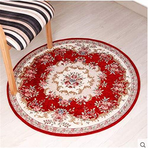 BeesClover Round Carpet Living Room Carpet Swivel Chair Computer Chair Hanging Household Dining Room Bedroom Carpet red 029 90cm Round by BeesClover (Image #3)