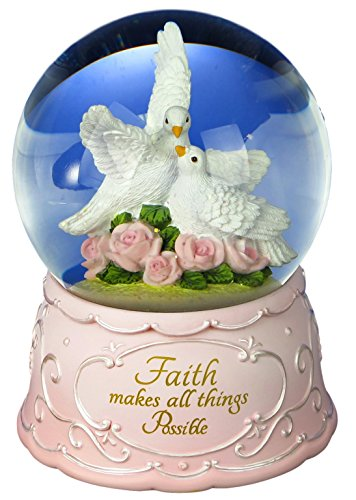 The San Francisco Music Box Company Faith Makes All Things Possible Doves Water Globe
