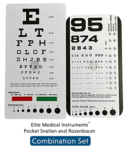 EMI Rosenbaum AND Snellen Pocket Eye Charts - 2 Pack (Distance Chart Eye)